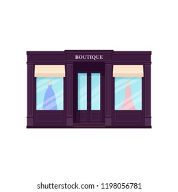 Boutique storefront, shop. Vector. Vintage store front. Facade retail building with window. Exterior house, retro street architecture. Cartoon illustration isolated in flat design.