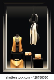 Boutique window with black mannequins in yellow clothes and with a yellow bag