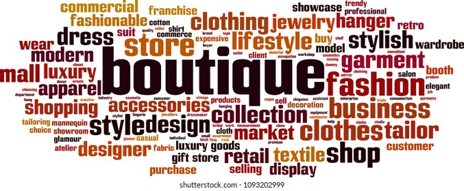 Boutique word cloud concept. Vector illustration