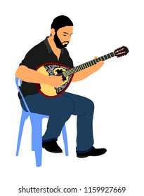Bouzouki player vector illustration. Street performer. Greek traditional string instrument. Folklore performer on the street. Greece folk event. Baglama, zurna, turkish performer.