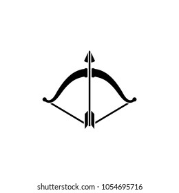 Bow and Arrow. Flat Vector Icon. Simple black symbol on white background