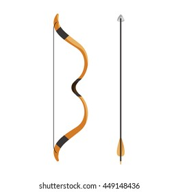 Bow and arrow icon. Cartoon bow and arrow vector isolated on white background. Archery or hunter tools
