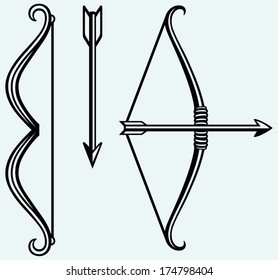 Bow and arrow. Image isolated on blue background