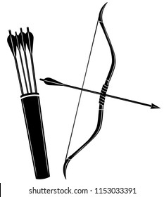 Bow, arrow and quiver icon vector illustration