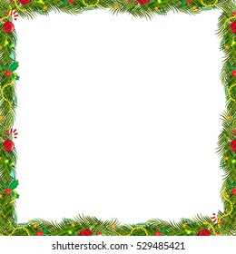 Bow Borders Fir-tree Branches With Holly Berry Set With Gradient Mesh. Vector Illustration