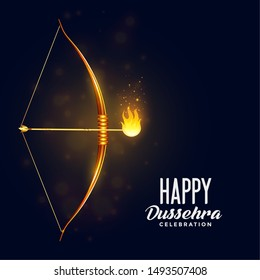 bow and burning arrow happy dussehra festival background
