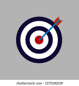 Bow, center focus target icon. Vector illustration, flat design.