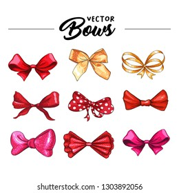 Bow hand drawn vector illustrations set. Realistic red, golden, pink and purple ribbon knots drawing. Bowknot cliparts. Hair accessories. Isolated color bow-tie. Banner, greeting card design element