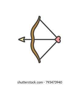 Bow and heart shaped arrow flat line colored icon.