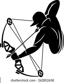 bow hunter aiming with compound bow
