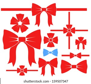 Bow. Icon set. Red bows on white background