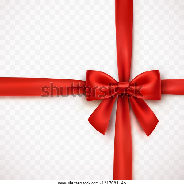 Bow isolated on transparent background. Vector Christmas red satin bow with ribbon, xmas wrap element template.