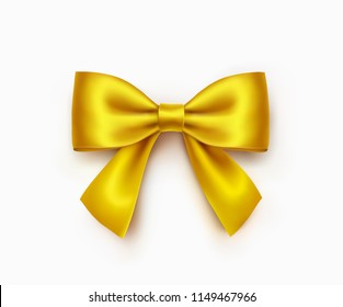 460910951fd9 Bow isolated on white background. Vector Christmas gold satin ribbon, decor  wrap element. minimal concept. yellow male bowtie ...