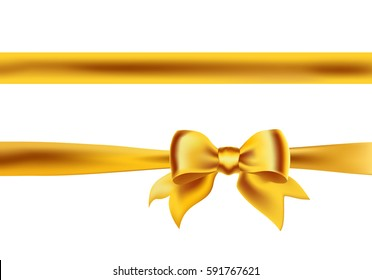 Bow knot with horizontal golden ribbon isolated on white. Decorative design element for celebrations greetings, invitations. vector