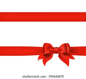 Bow knot with horizontal red ribbon isolated on white. Decorative design element for celebrations greetings, invitations. vector