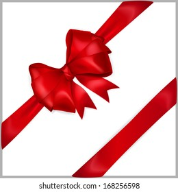 Bow of red wide ribbon with diagonally ribbons