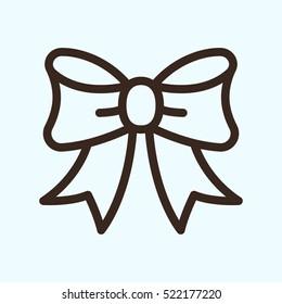 Bow Ribbon Minimalistic Flat Line Outline Stroke Icon Pictogram Symbol Set