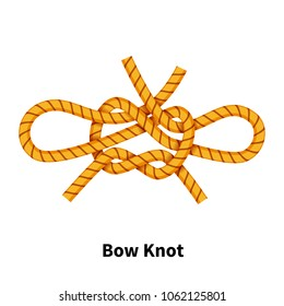 Bow sea knot. Bright colorful how-to guide isolated on white