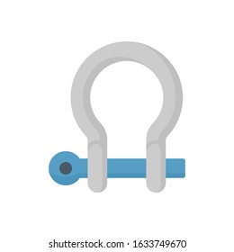 Bow shackle vector icon. That metal or steel with locking pin. Accessory or lifting equipment with breaking strength for winching, industrial crane rigging, tow strap and off-road jeep truck recovery.