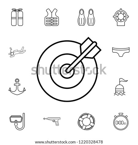 Bow Target Icon Detailed Set Diving Stock Vector Royalty Free