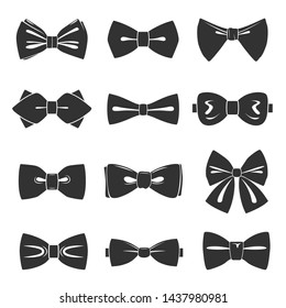 Bow tie icon set, male fashion accessory. Short necktie tied in a bowknot. Vector flat style bow tie illustration isolated on white background