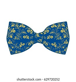 Bow tie. Lapis Blue and Primrose Yellow color. Vector illustration