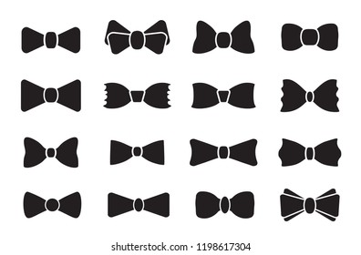Bow tie or neck tie simple vector icon isolated on white background. Bowtie symbol, outline, logo, image or illustration