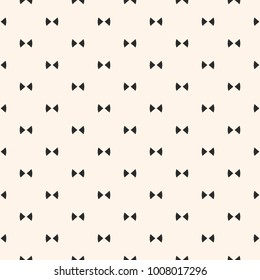 Bow tie pattern. Simple minimalist vector seamless texture with small triangles. Abstract monochrome geometric ornament. Hipster fashion style. Cute funky background. Repeat design for decor, prints