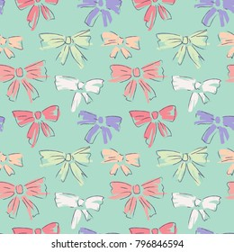 Bow tie seamless pattern. Vector pattern with hand drawn bow of ribbon. Colorful repeated backdrop with han drawn naive motif. Brush painted design for background.