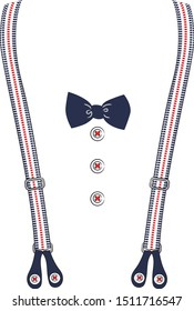 bow tie with suspenders & buttons
