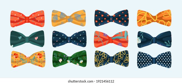 Bow tie vector icons set flat. A set of ties.