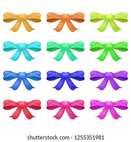 Bow vector bowknot or ribbon for decorating gifts on Christmas or Birthday party illustration set of elements bowed or ribboned presents on holidays celebration isolated on white background