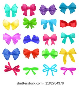 Bow vector cartoon bowknot or ribbon for decorating gifts on Christmas or Birtrhday party illustration set of elements bowed or ribboned presents on holidays celebration isolated on white background