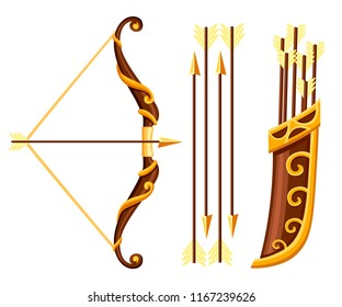 Bow weapon with arrows and quiver. Brown bow with gold ornaments. Wooden quiver. Medieval and fantasy weapon. Flat vector illustration isolated on white background.