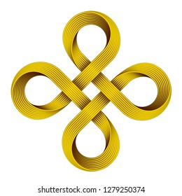 Bowen cross symbol made of golden strip. Vector illustration isolated on white background.