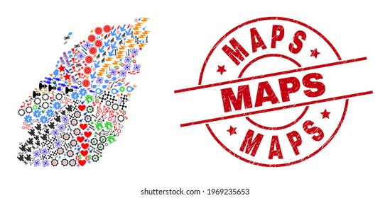 Bowen Island map mosaic and distress Maps red circle stamp seal. Maps stamp uses vector lines and arcs. Bowen Island map mosaic includes markers, houses, lamps, bugs, hands, and more pictograms.