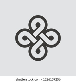 Bowen knot icon isolated of flat style. Vector illustration.