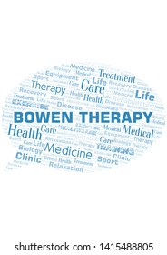 Bowen Therapy word cloud. Wordcloud made with text only.