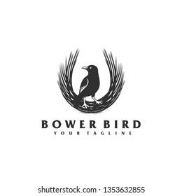 bower bird logo design concept illustration.