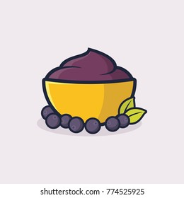 A bowl of acai illustration vector