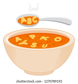Bowl of alphabet pasta soup and spoon. Vector illustration.