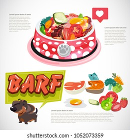 bowl of barf food for pet. healthy food for pet with logotype - vector illustration