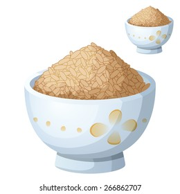 Bowl of brown rice isolated on white background. Detailed Vector Icon. Series of food and drink and ingredients for cooking.