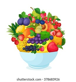 Bowl of cartoon fresh  fruit and berries.  Apple pear banana mango currant strawberry pineapple cherry plum peach vector illustration.