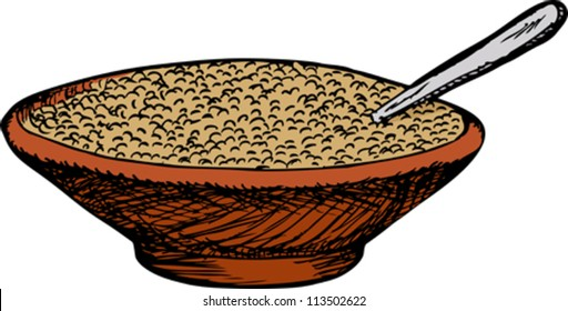 Bowl of cereal with spoon over white background