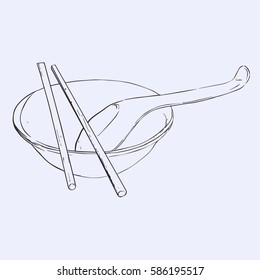bowl, chopsticks and spoon. Hand drawn vector . Table ware asian style.