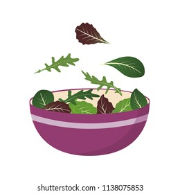 Bowl of fresh mix of salad leaves. Arugula, spinach and lettuce leaf. Vector illustration set in flat style