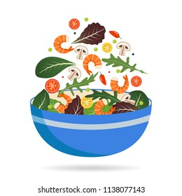 Bowl of fresh mix of salad leaves, vegetables and shrimp. Arugula, tomatoes, paprika, peppers and mushrooms. Vector illustration