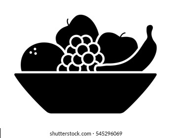 Bowl of fruit / fruits with orange, banana, grapes and apples flat vector icon for apps and websites