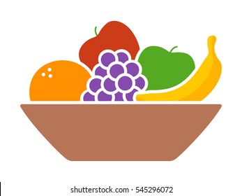 Bowl of fruit / fruits with orange, banana, grapes and apples flat vector colorful icon for apps and websites
